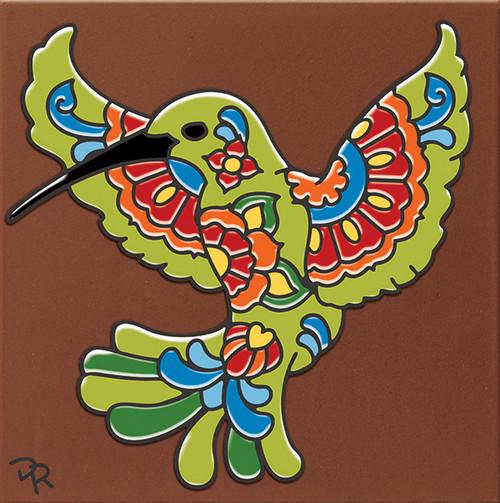 "6X6 Tile Talavera Hummingbird ""Naturals"""