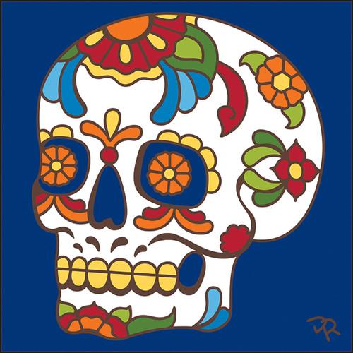 6x6 Tile Talavera Sugar Skull Cobalt 8184C