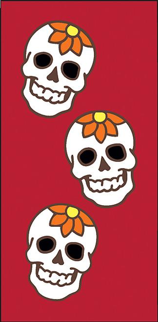 3x6 Tile Red Day of the Dead Flower Skulls Left End