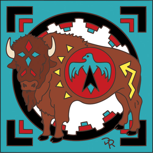 6x6 Tile Native American Buffalo 7869A
