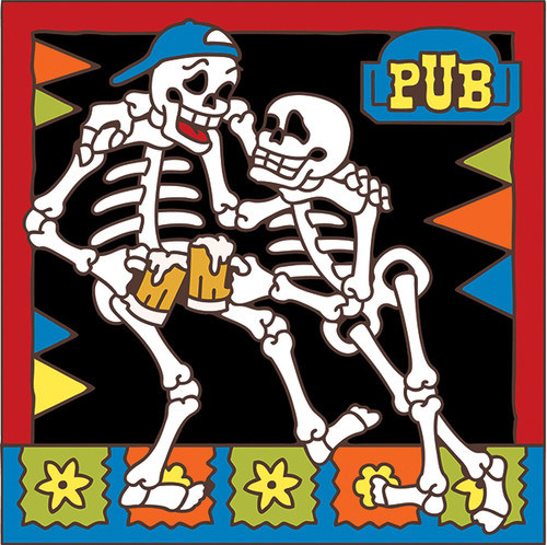 6x6 Tile Day of the Dead Beer Buddies 7976A