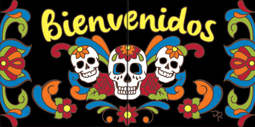 "6""x12"" Tile Sign Day of the Dead Bienvenidos"