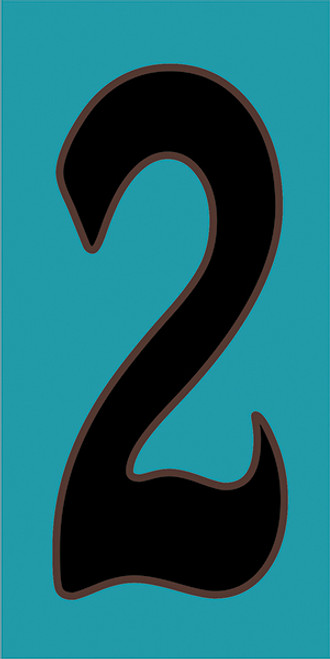 3x6 Tile House Number Turquoise #2
