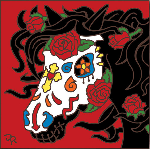 6x6 Tile Day of the Dead Horse Sugar Skull 7849A