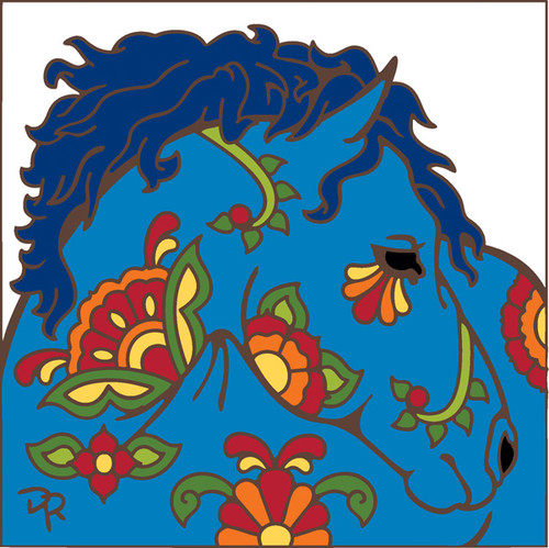 6x6 Tile Talavera Horse II White
