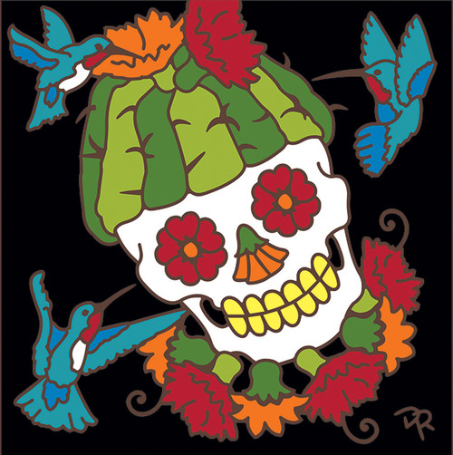 6x6 Tile Day Of The Dead Saguaro Cactus Head 8320A