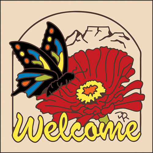 6x6 Tile Welcome Butterfly Sand 7954A