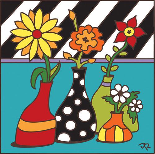 6x6 Tile Vase with Stripes 7439A