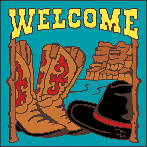 6x6 Tile Welcome Hat & Boots Turquoise 7938TQ