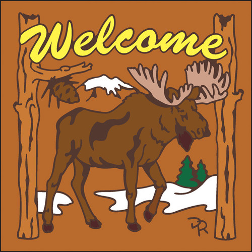 6x6 Tile Welcome Moose Terracotta 7951R