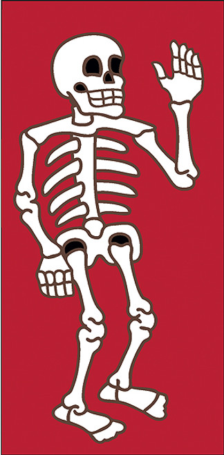3x6 Tile Red Day of the Dead Waver Left End