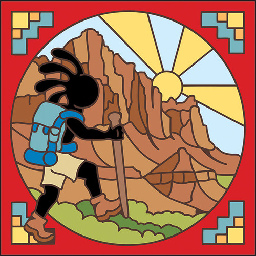 6x6 Tile Hiking Kokopelli