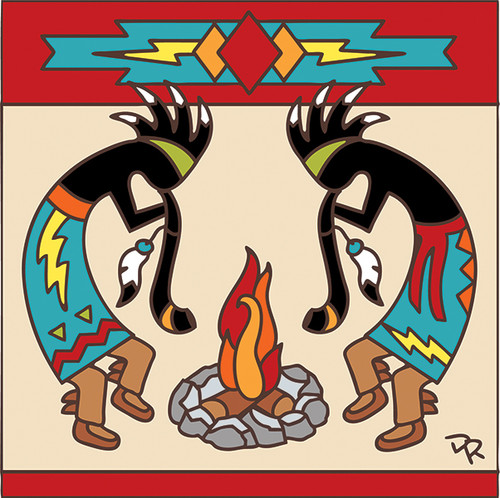 6x6 Tile Kokopelli Indian Campfire