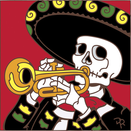 6x6 Tile Day of the Dead Trumpeter 8245A