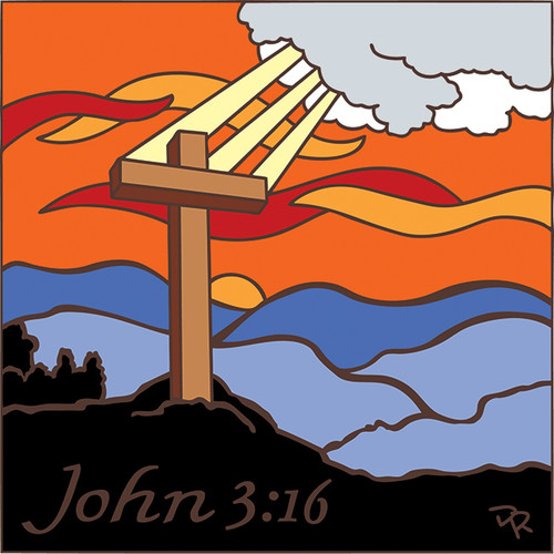 6x6 Tile John 3:16 Cross 7718A