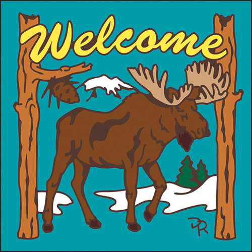 6x6 Tile Welcome Moose Turquoise 7951TQ