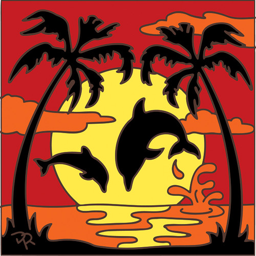 6x6 Tile Dolphin Sunset Silhouette 8047A