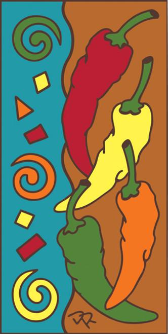 3x6 Tile Festive Chilis Terracotta 3016R