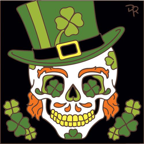 6x6 Tile Day of the Dead Saint Patrick Skull