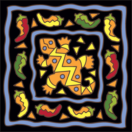 6x6 Tile Southwest Gecko and Chili Toss Black