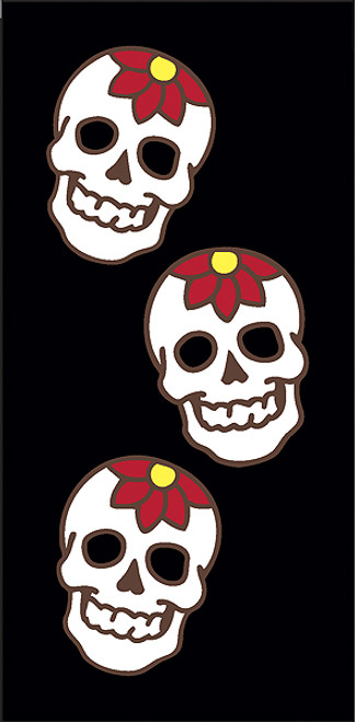 3x6 Tile Black Day of the Dead Flower Skulls Left End
