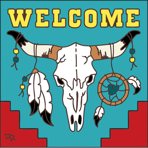 6x6 Tile Welcome Steer Skull Turquoise 7700TQ