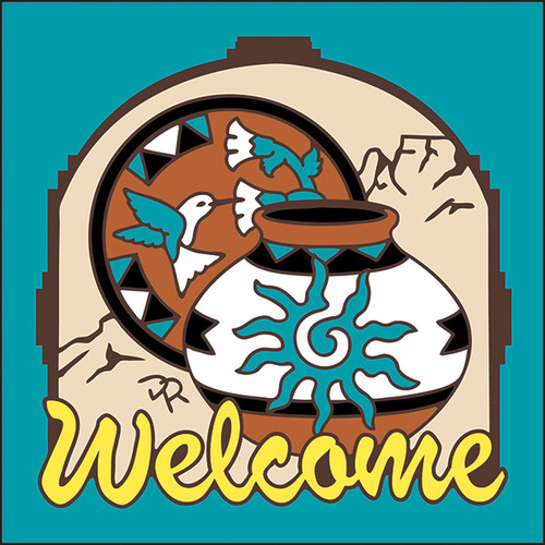 6x6 Tile Welcome Pottery Turquoise 7959TQ