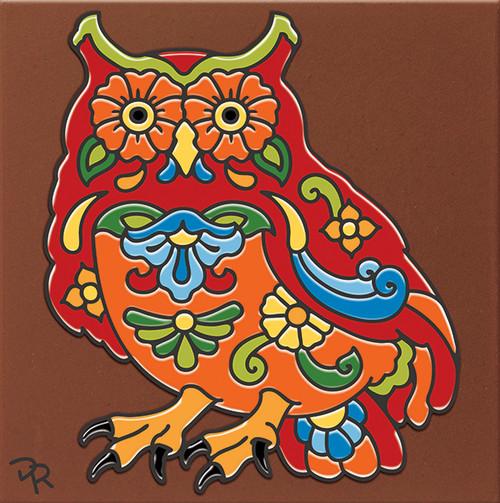 """6X6 Tile Talavera Owl """"Naturals"""""""