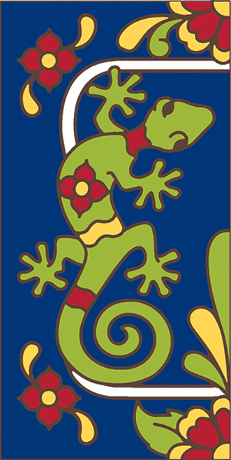 3x6 Tile House Number Cobalt Talavera Gecko Left End 3066AL