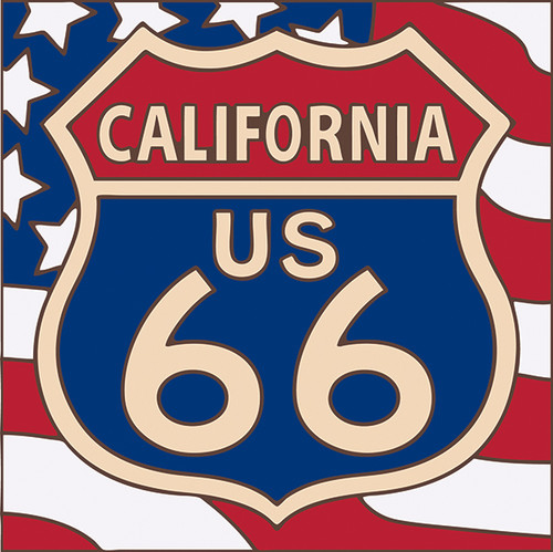 6x6 Tile Route 66 California on American Flag