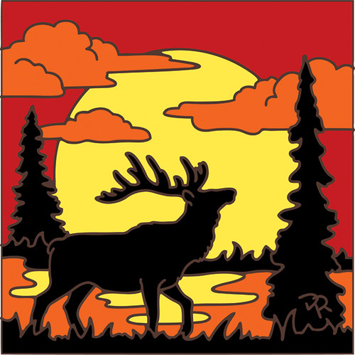 6x6 Tile Elk Sunset Silhouette 8053A