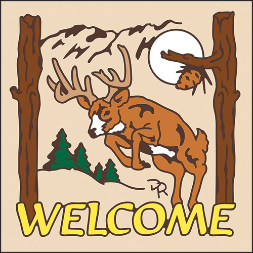 6x6 Tile Welcome Leaping Deer Sand 7948A