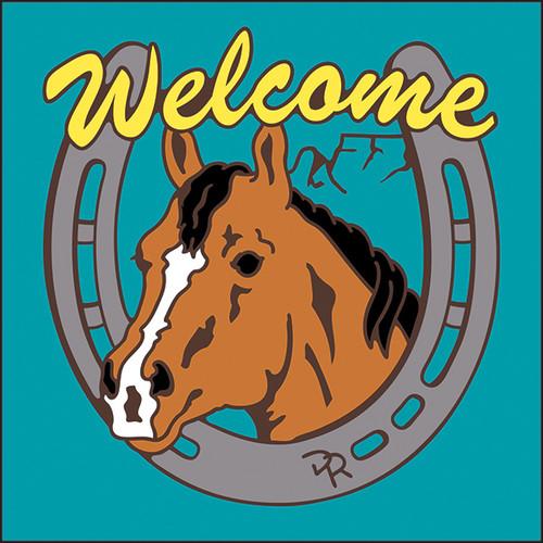6x6 Tile Welcome Horse & Horseshoe Turquoise 7957TQ