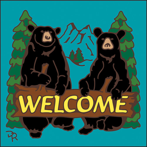 6x6 Tile Welcome Bears Turquoise 7949TQ