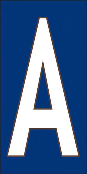 3x6 Tile House Letter A White on Cobalt