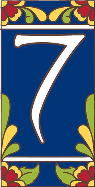 3x6 Tile House Number Cobalt Talavera #7