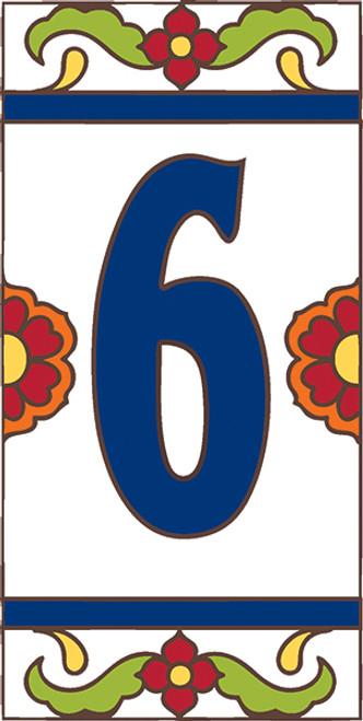 3x6 Tile House Number White Talavera #6