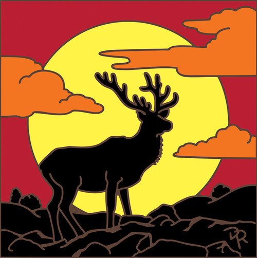 6x6 Tile Stag Silhouette