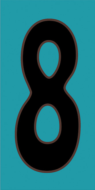 3x6 Tile House Number Turquoise #8