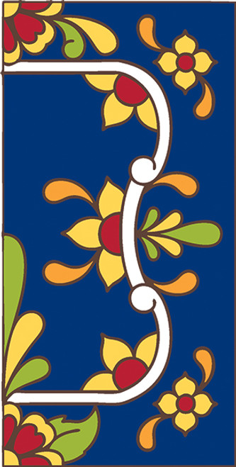 3x6 Tile House Number Cobalt Talavera Right