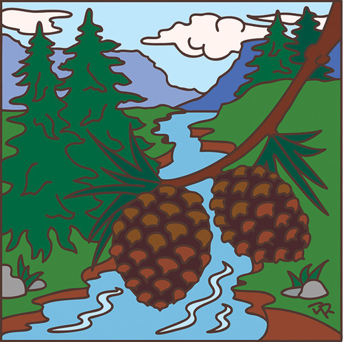 6x6 Tile Pine Cone Forest Scene 7409A
