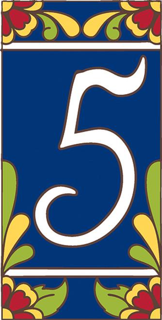 3x6 Tile House Number Cobalt Talavera #5