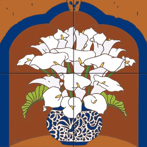 12x12 Tile Mural Vase of Calla Lilies