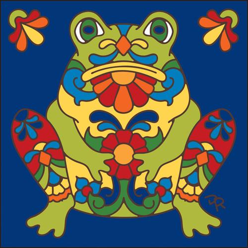 6x6 Tile Talavera Frog Cobalt 7815C