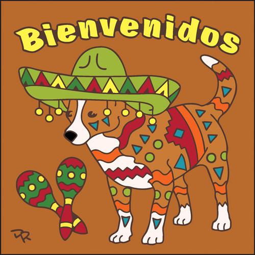 6x6 Tile Bienvenidos Festive Dog Terracotta 7702R