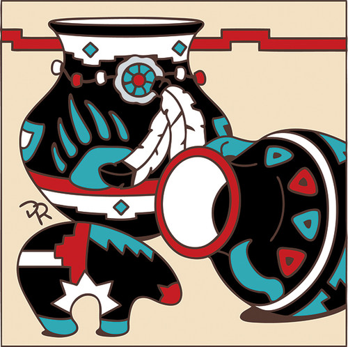 6x6 Tile Native American Fetish Bear and Pottery