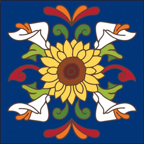6x6 Tile Talavera Sunflower with Calla Lilies Cobalt