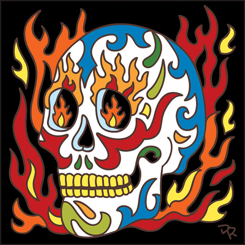 6x6 Tile Day of the Dead Flaming Skull 7613A