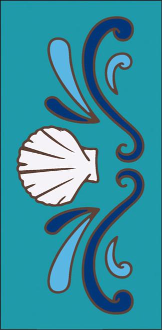 3x6 Tile Sea Shell Border Turquoise