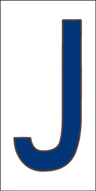 3x6 Tile House Letter J Cobalt on White